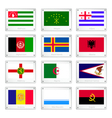 Twelve National Flags on Metal Texture Plate vector image vector image