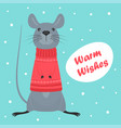 winter card with cute mouse vector image vector image