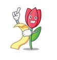 with menu tulip mascot cartoon style vector image