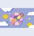 woman hello summer holiday design vector image vector image
