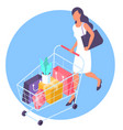 young woman at shopping with supermarket cart vector image