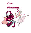 set of princess ballerina accessories love vector image