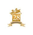 28 years gift box ribbon anniversary vector image vector image