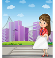 A woman in front of the tall buildings holding a vector image vector image