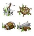 Anchor steering wheel gun and wooden barrel vector image vector image