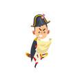 angry napoleon bonaparte cartoon character holding vector image vector image