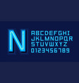 blue neon light alphabet font vector image vector image