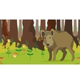 Boar in forest with trees fungus seamless vector image vector image