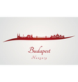 Budapest skyline in red vector image vector image