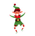 cheerful elf character in green hat vector image vector image