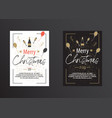 christmas poster in black and white vector image vector image