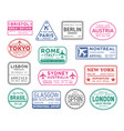 collection of passport visa stamps isolated vector image