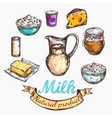 Cow And Nature Milk Color Sketch vector image vector image