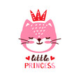 cute cat little prinsess vector image vector image