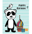 cute doodle panda and bird with colourful cup cake vector image