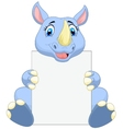 Cute rhino cartoon holding blank sign vector image vector image
