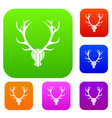 deer antler set collection vector image vector image