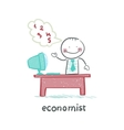 economist sitting at work vector image vector image