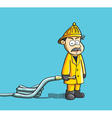 fireman holding hose vector image vector image