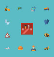 flat icons toolkit excavator steamroller and vector image vector image