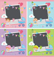 four photo frames with baby items vector image vector image