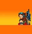 futuristic woman with guns close-up vector image