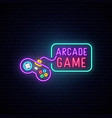 game controller neon sign bright light joystick vector image vector image