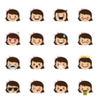 girl emoticons collection Cute kid emoji vector image