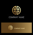 gold round circle ornament geometry logo vector image