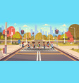 group of school children crossing road on vector image vector image