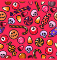 halloween seamless pattern with cartoon candies in vector image vector image