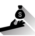 hand holding money sack with dollar sign vector image vector image