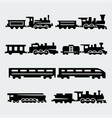 isolated trains silhouettes set vector image