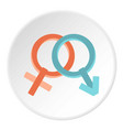 male and female gender signs icon circle vector image vector image