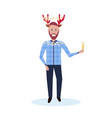 man holding glass champagne wearing deer costume vector image