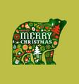 merry christmas retro watercolor folk bear card vector image vector image