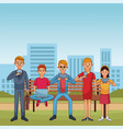 people conencting technology vector image vector image
