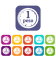 peso icons set flat vector image vector image