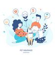 pet life insurance hand drawn flat vector image vector image