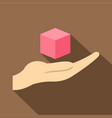 pink cube 3d model icon flat style vector image vector image