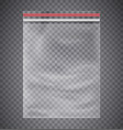 plastic transparent bag with a closing strip vector image