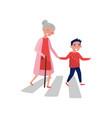 polite boy helps elderly woman to cross the road vector image