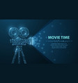 polygonal wireframe movie projector show film at vector image vector image