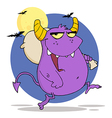 Purple Monster Runs With Bag vector image vector image