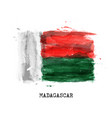 realistic watercolor painting flag madagascar vector image vector image