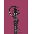 Rock music poster with snake and guitar Grunge vector image