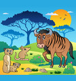 savannah scenery with animals 3 vector image vector image