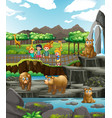scene with animals and happy children at zoo vector image vector image