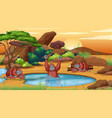 scene with three chimpanzees pond vector image vector image