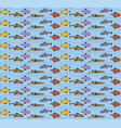 seamless pattern with fish linear ethnic design vector image vector image